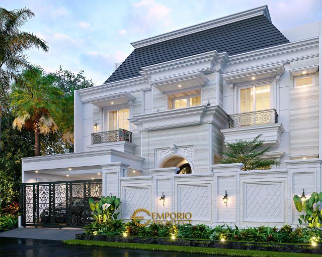 Desain Tampak Depan Dengan Pagar Rumah Klasik Modern 3 Lantai Mr. AT di Bekasi, Jawa Barat