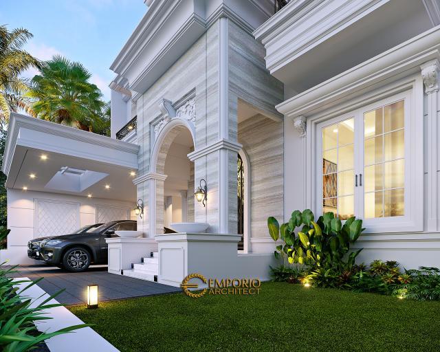 Desain Tampak Detail Depan Rumah Klasik Modern 3 Lantai Mr. AT di Bekasi, Jawa Barat
