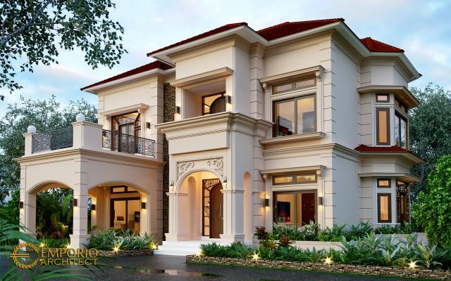 Desain Rumah Mediteran 2 Lantai Ibu Yeni di Bandung, Jawa Barat - Tampak Depan