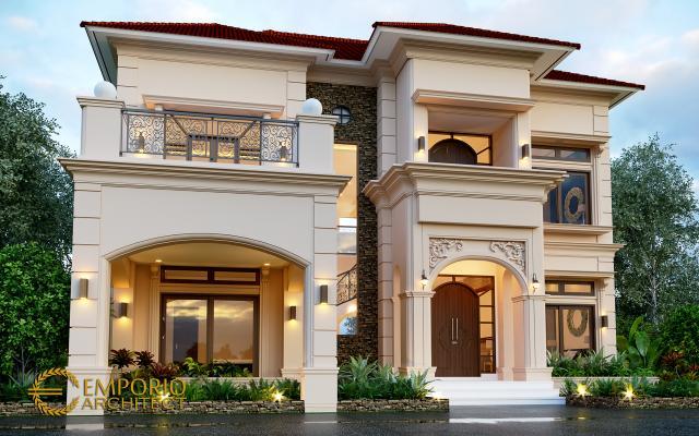 Desain Tampak Depan 2 Rumah Mediteran 2 Lantai Ibu Yeni di Bandung, Jawa Barat