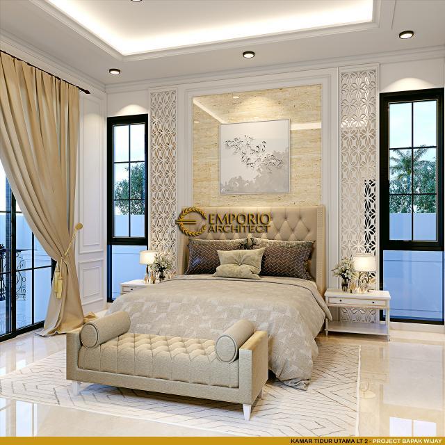 Desain Kamar Tidur Utama Lantai 2 Rumah Mediteran 2.5 Lantai Bapak Wijay di Sentul City, Bogor