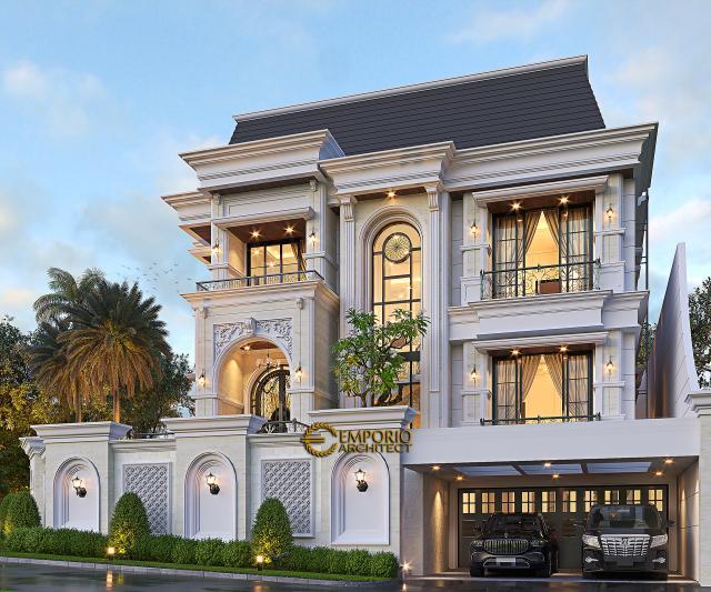 Desain Rumah Mediteran 2.5 Lantai Bapak Wijay di Sentul City, Bogor - Tampak Depan