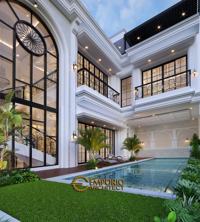 Desain Tampak Detail Belakang Rumah Mediteran 3 Lantai Ibu Debbie di Jakarta Utara