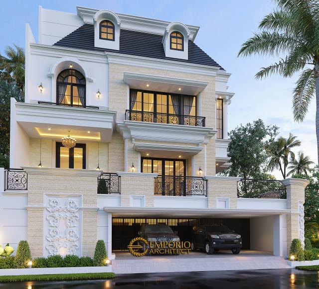 Desain Rumah Mediteran 4 Lantai Ibu Eli di Jakarta Utara - Tampak Depan
