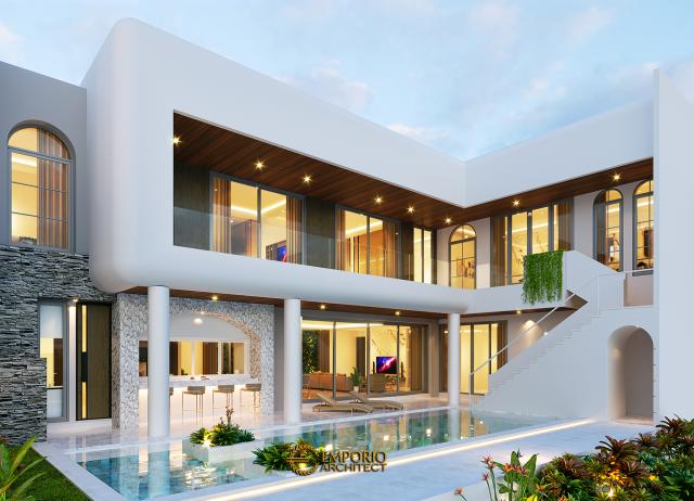 Desain Tampak Belakang Rumah Santorini 2.5 Lantai Ibu Linda di Jakarta