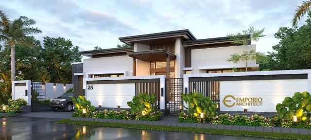 Desain Tampak Depan Dengan Pagar Rumah Modern 1 Lantai Bapak Jeremia di Pekanbaru, Riau