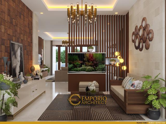 Desain Ruang Tamu Rumah Villa Bali Modern 1 Lantai Bapak Ivan di Pangkalan Bun, Kotawaringin Barat, Kalimantan Tengah