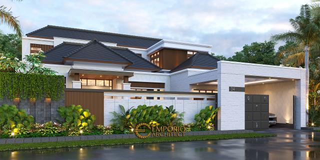 Desain Tampak Depan Dengan Pagar Rumah Modern 1.5 Lantai Bapak HS di Palu, Sulawesi Tengah