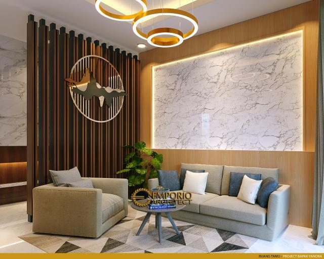 Desain Ruang Tamu Rumah Modern 2 Lantai Bapak Yandra di Padang, Sumatera Barat