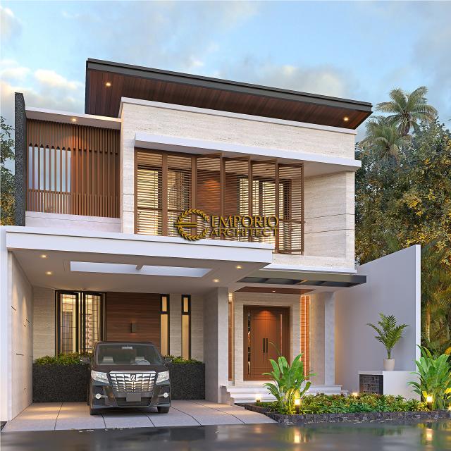 Desain Tampak Depan Kiri Rumah Modern 2 Lantai Ibu Mega di Palembang