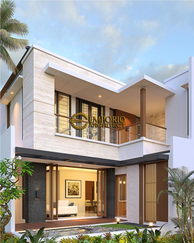 Desain Tampak Belakang Rumah Modern 2 Lantai Ibu Mega di Palembang