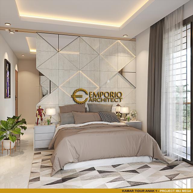 Desain Kamar Tidur Anak 1 Rumah Modern 2 Lantai Ibu Mega di Palembang