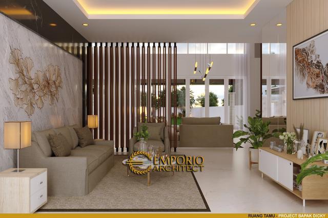 Desain Ruang Tamu Rumah Modern 2 Lantai Bapak Dicky di Palu, Sulawesi Tengah