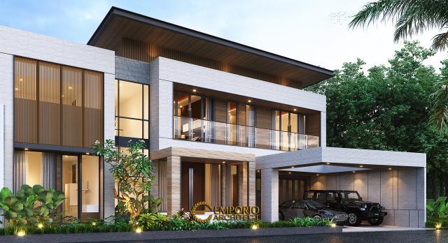 Desain Rumah Modern 2 Lantai Bapak Fachmy di Bandung, Jawa Barat - Tampak Depan Kiri