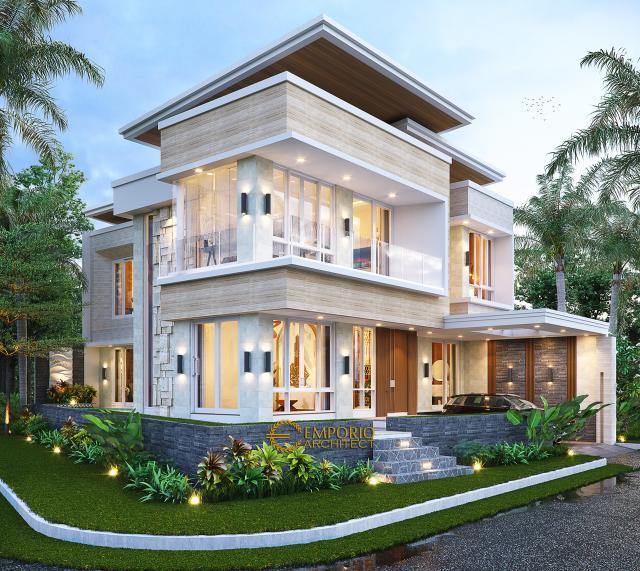 Desain Tampak Hook Rumah Modern 2 Lantai Ibu Liza di Batam
