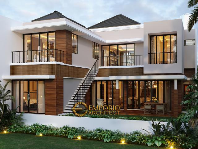 Desain Tampak Belakang Rumah Modern 2 Lantai Bapak Hermanto di Bogor, Jawa Barat