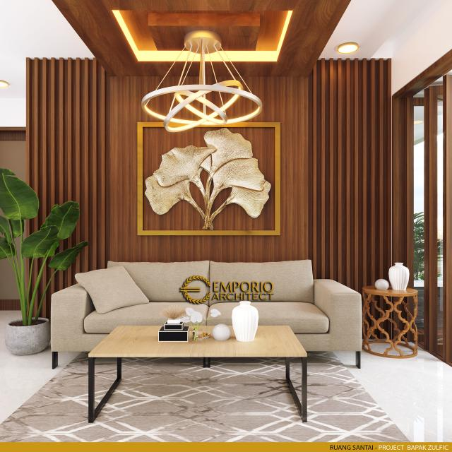 Desain Ruang Santai Rumah Modern 2 Lantai Bapak Zulfic di Palangka Raya, Kalimantan Tengah