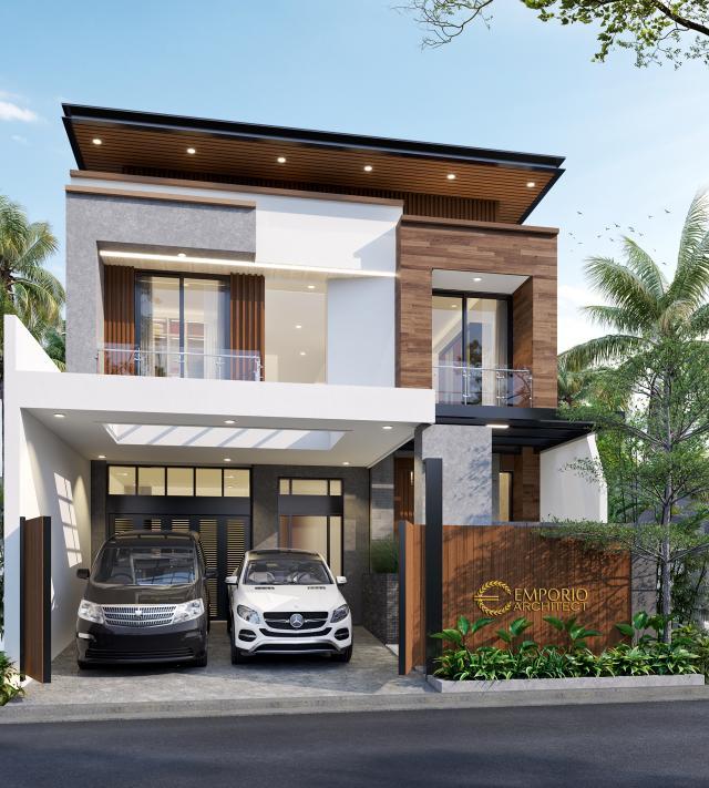 Desain Rumah Modern 2 Lantai Bapak Steven di Surabaya - Tampak Depan