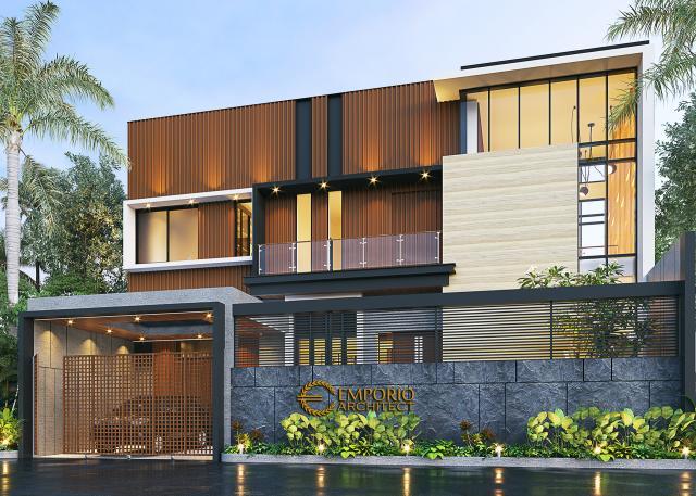 Desain Tampak Depan Dengan Pagar Rumah Modern 2 Lantai Bapak Surip di Samarinda, Kalimantan Timur