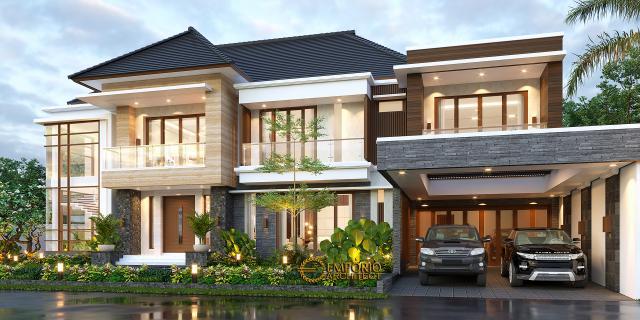 Desain Rumah Modern 2 Lantai Ibu Lucy di Medan, Sumatera Utara - Tampak Depan