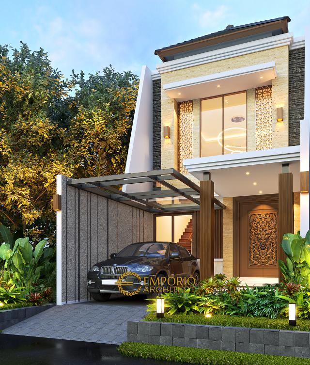 Desain Rumah Modern 2 Lantai Bapak Kris di Jakarta - Tampak Depan