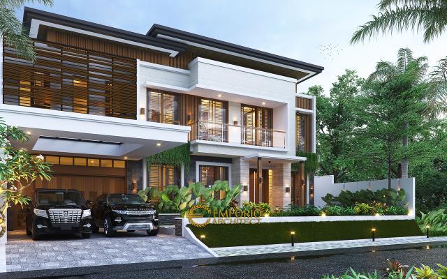 Desain Rumah Modern 2 Lantai Bapak Victor di Jawa Timur - Tampak Depan