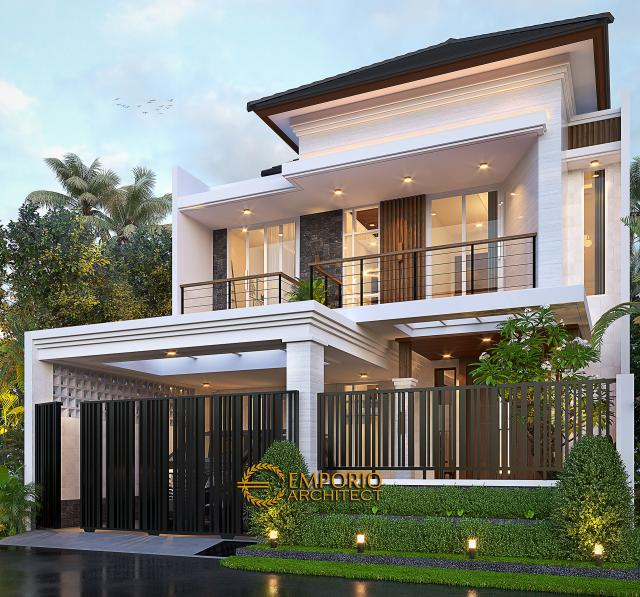 Desain Tampak Depan Dengan Pagar Rumah Modern 2 Lantai Bapak Antonius di Bekasi, Jawa Barat