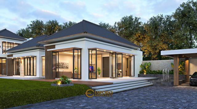 Desain Tampak Depan Bungalow Rumah Modern 2 Lantai Bapak Ngadiono II di Serang, Banten
