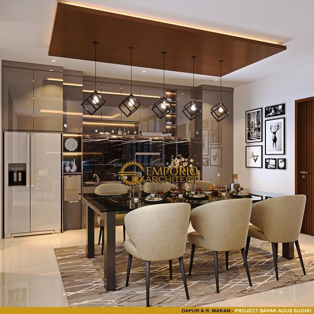 Desain Ruang Makan dan Dapur Rumah Modern 2 Lantai Bapak Agus Sugiri di Jakarta