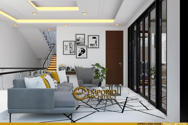 Desain Ruang Keluarga Rumah Modern 2 Lantai Bapak Putra di BSD, Tangerang Selatan, Banten
