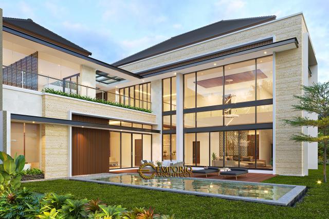 Desain Tampak Belakang Rumah Modern 2 Lantai Bapak Swanto di Tangerang, Banten