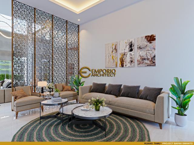Desain Ruang Tamu Rumah Modern 2 Lantai Bapak Swanto di Tangerang, Banten