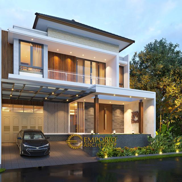 Desain Rumah Modern 2 Lantai Bapak Daniel di Jakarta Timur - Tampak Depan Tanpa Pagar