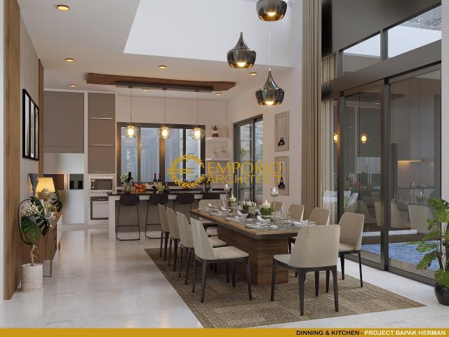Desain Ruang Makan dan Dapur Rumah Modern 2 Lantai Bapak Herman di Tanjung Pinang, Kepulauan Riau