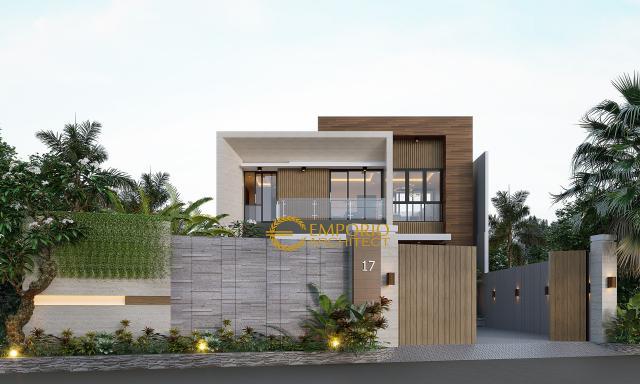 Desain Tampak Depan Dengan Pagar Rumah Modern 2 Lantai Bapak Herman di Tanjung Pinang, Kepulauan Riau