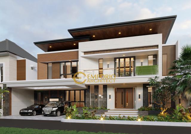 Desain Tampak Depan Tanpa Pagar Rumah Modern 2 Lantai Bapak Julian di Palembang, Sumatera Selatan