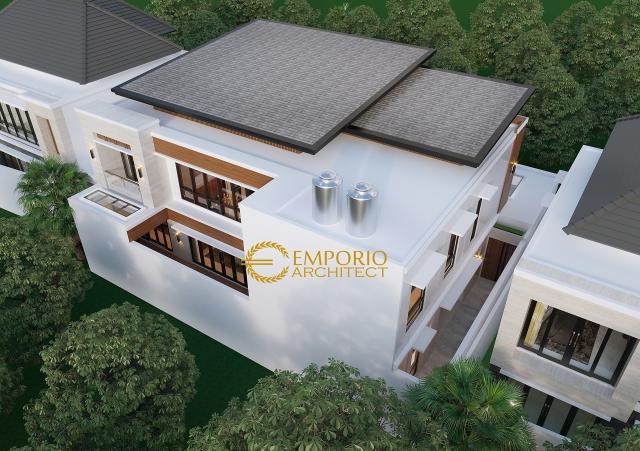 Desain Masterplan Tampak Belakang Rumah Modern 2 Lantai Bapak Julian di Palembang, Sumatera Selatan