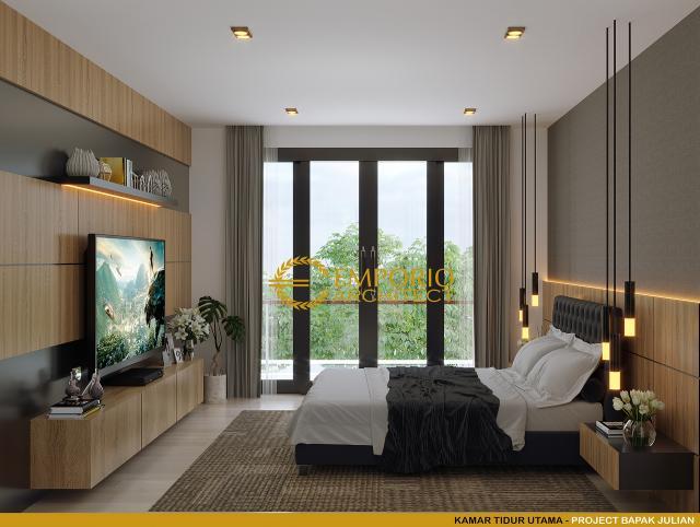Desain Kamar Tidur Utama Rumah Modern 2 Lantai Bapak Julian di Palembang, Sumatera Selatan