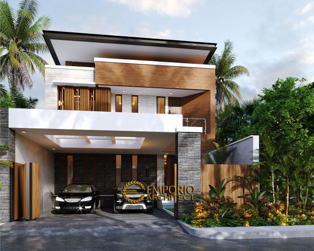 Desain Tampak Depan Dengan Pagar Rumah Modern 2 Lantai Bapak Nicolas di Makassar, Sulawesi Selatan