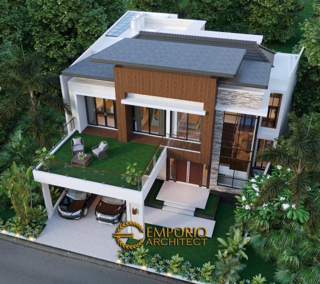Desain Masterplan Tampak Depan Rumah Modern 2 Lantai Bapak T di Citraland, Jakarta