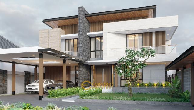 Desain Tampak Depan Rumah Modern 2 Lantai Bapak Usman di Tangerang, Banten
