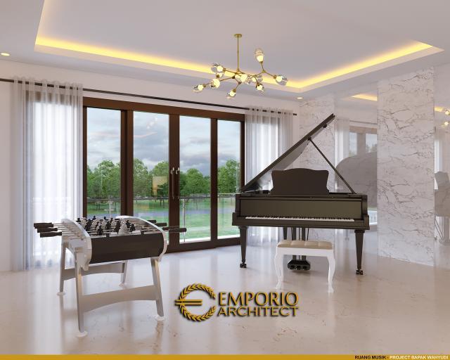Desain Ruang Musik Rumah Villa Bali Modern 2 Lantai Bapak Wahyudi di Banjarmasin, Kalimantan Selatan