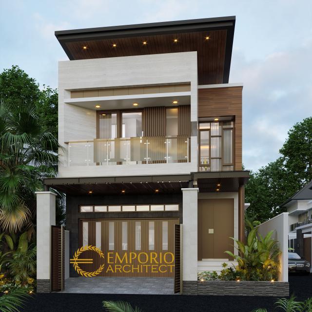 Desain Tampak Depan Rumah Modern 2 Lantai Ibu Silvi di Surabaya