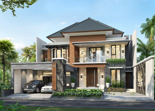 Desain Tampak Depan Rumah Modern 2 Lantai Mrs. Asty di Ponorogo, Jawa Timur