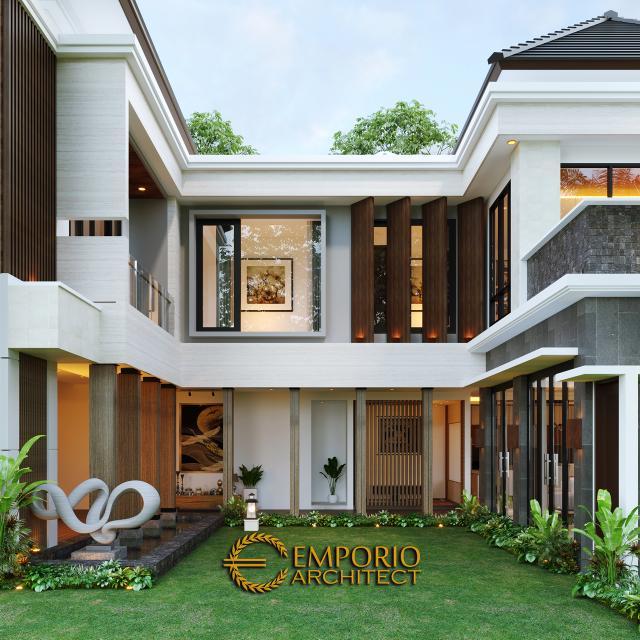 Desain Tampak Samping Rumah Modern 2 Lantai Mrs. Asty di Ponorogo, Jawa Timur