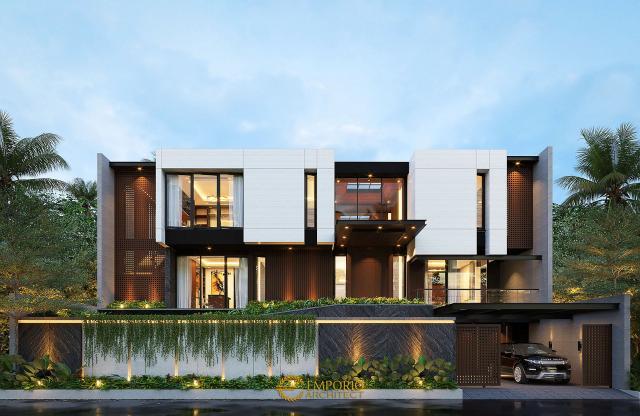 Desain Tampak Depan Rumah Modern 2.5 Lantai Mrs. Emma di Singapore