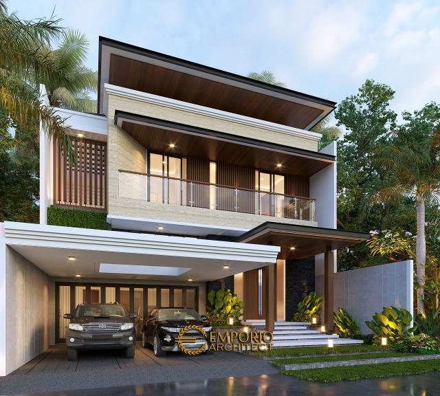 Desain Tampak Depan 2 Rumah Modern 2.5 Lantai Bapak Husein di Solo (Surakarta), Jawa Tengah