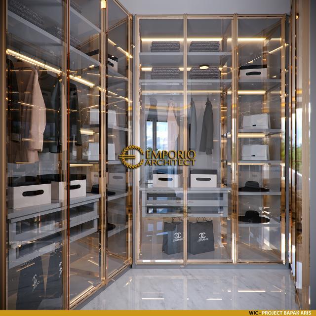 Desain Walk In Closet Rumah Modern 2.5 Lantai Bapak Aris di Bandung, Jawa Barat