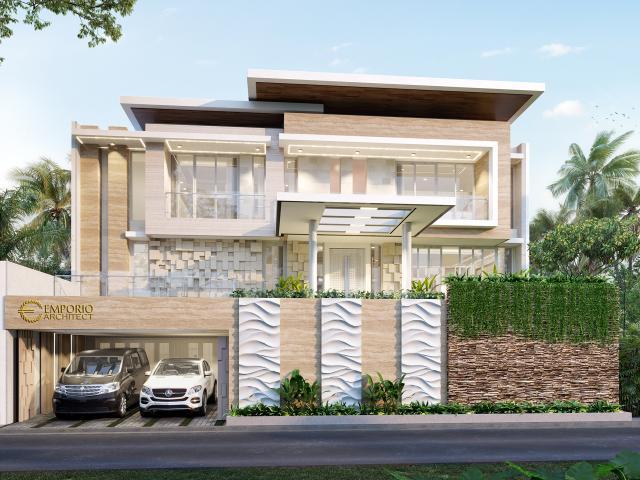 Desain Rumah Modern 2.5 Lantai Ibu Purie di Bandung, Jawa Barat - Tampak Depan