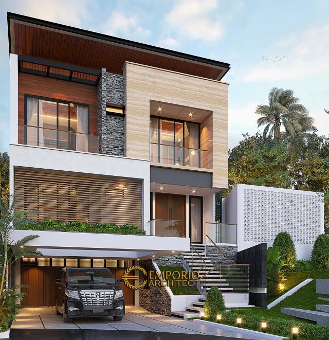 Desain Rumah Modern 3 Lantai Ibu Margaret di Jakarta - Tampak Depan